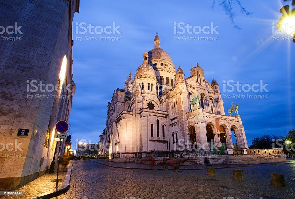 Basilica of Sacre-Coeur at night. Montmartre, Paris stock photo