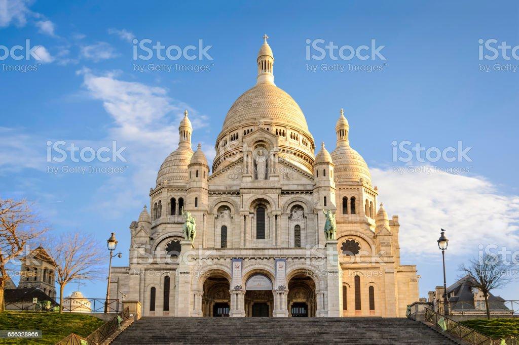 Basilica of Sacre-Coeur in Montmartre, Paris at sunrise stock photo