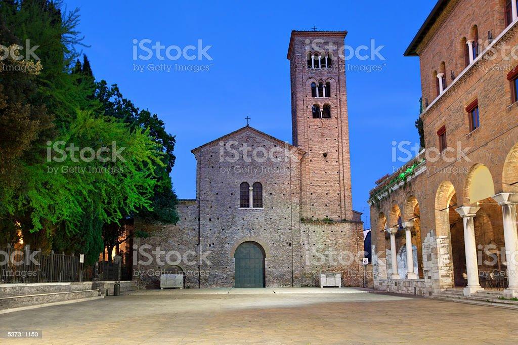 Basilica of Saint Francis in the evening, Ravenna stock photo