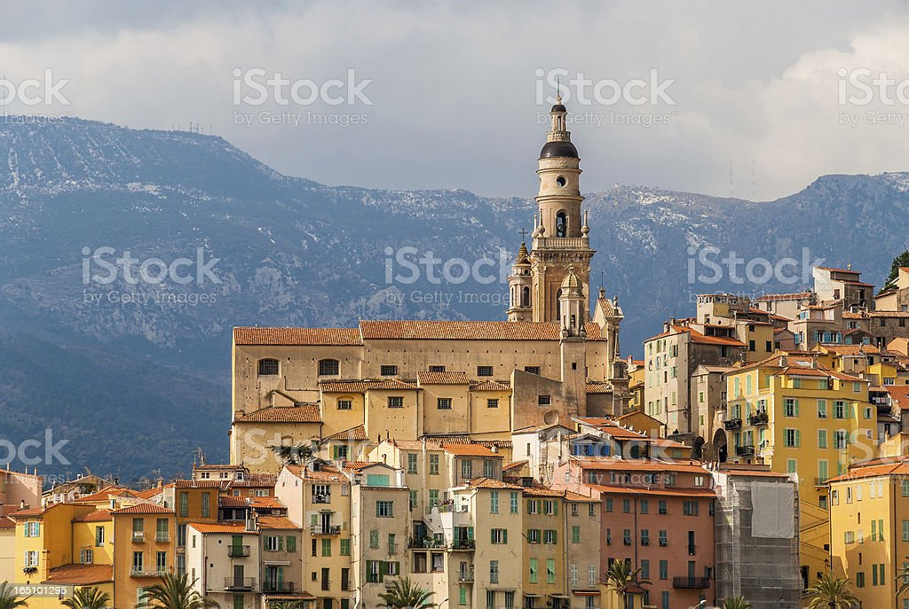 Basilica of Saint-Michel-Archange in Menton - French Riviera, France stock photo