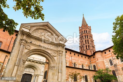 Basilica of Saint-Sernin, Toulouse, France. The Basilica of Saint Sernin in Toulouse is the largest Romanesque church in Europe. The church constructed with local red brick and white stone in the 11th century. Nowadays the church is a UNESCO World Heritage Site.