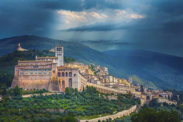 Basilica of San Francesco in Assisi, Umbria, Italy stock photo