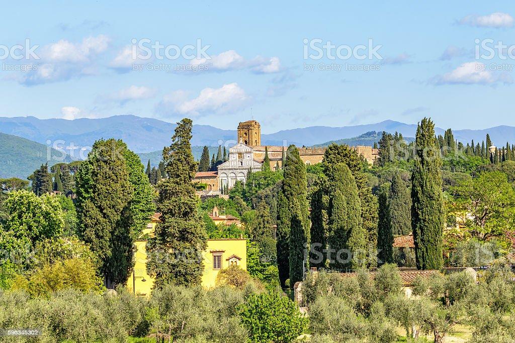 Basilica of San Miniato al Monte in Italian rural landscape Lizenzfreies stock-foto