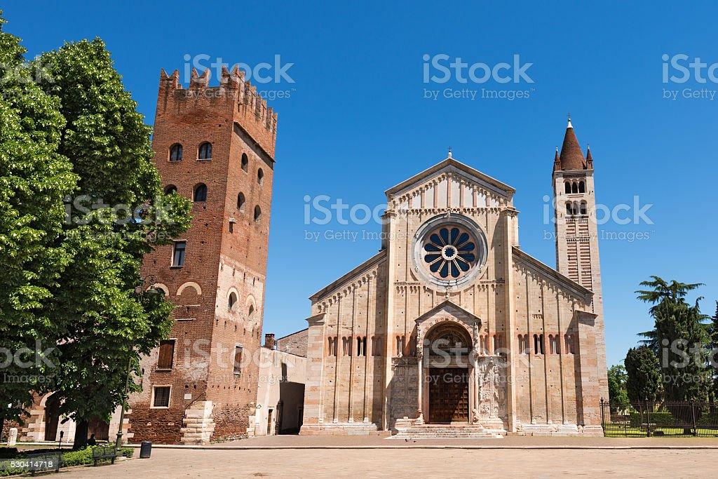 Basilica of San Zeno - Verona Italy stock photo