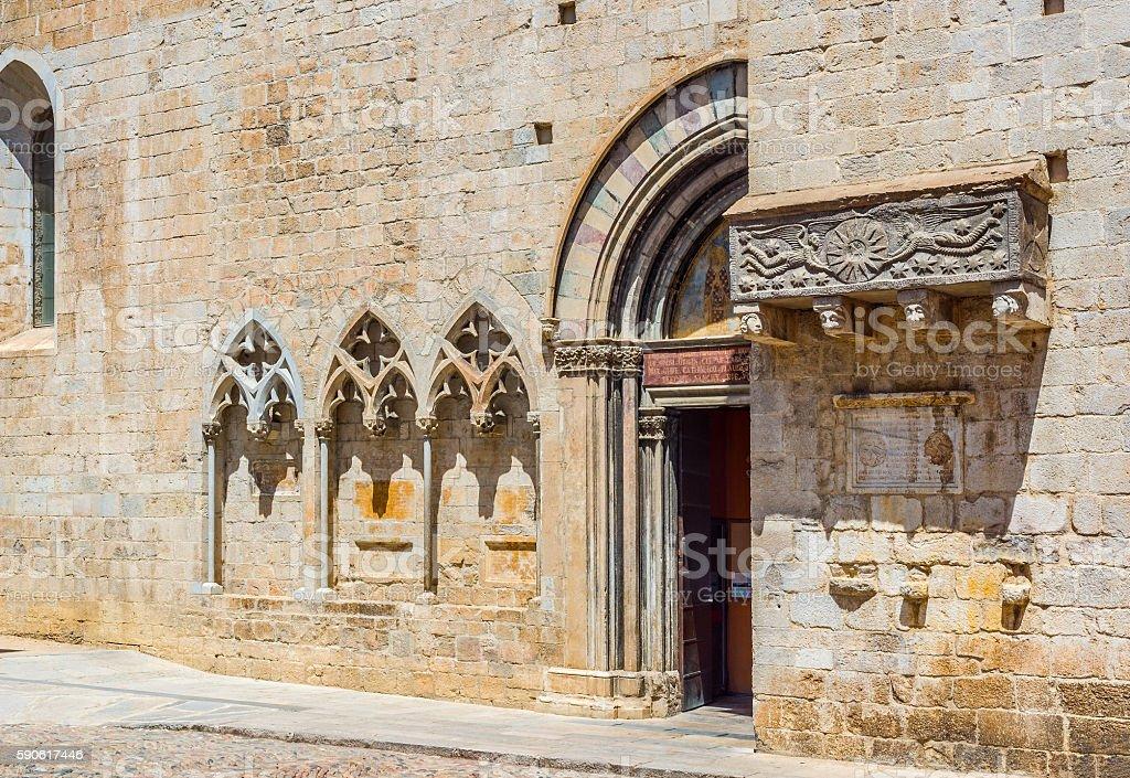 Basilica of Sant Feliu of Gerona, Costa Brava, Catalonia, Spain. - foto de acervo