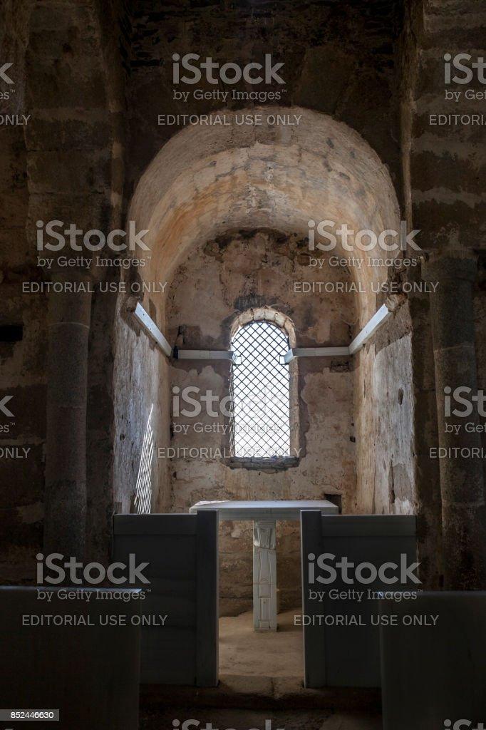 Basilica of Santa Lucia del Trampal, Alcuescar, Spain. Central chapel indoor stock photo