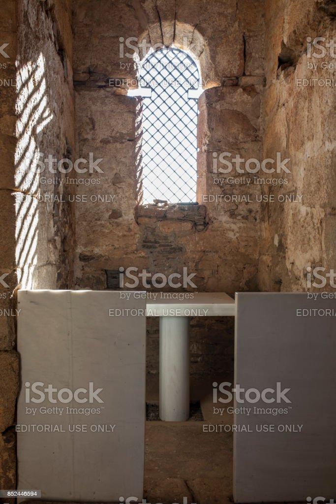 Basilica of Santa Lucia del Trampal, Alcuescar, Spain. Side chapel indoor stock photo