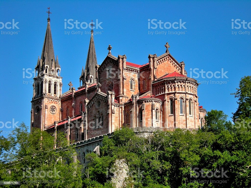 Basilica of Santa María la Real de Covadonga stock photo