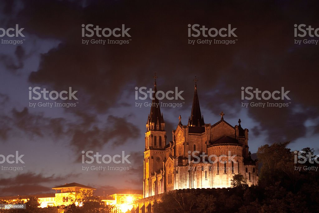 Basilica of Santa Maria, Covadonga, Asturias, Spain stock photo