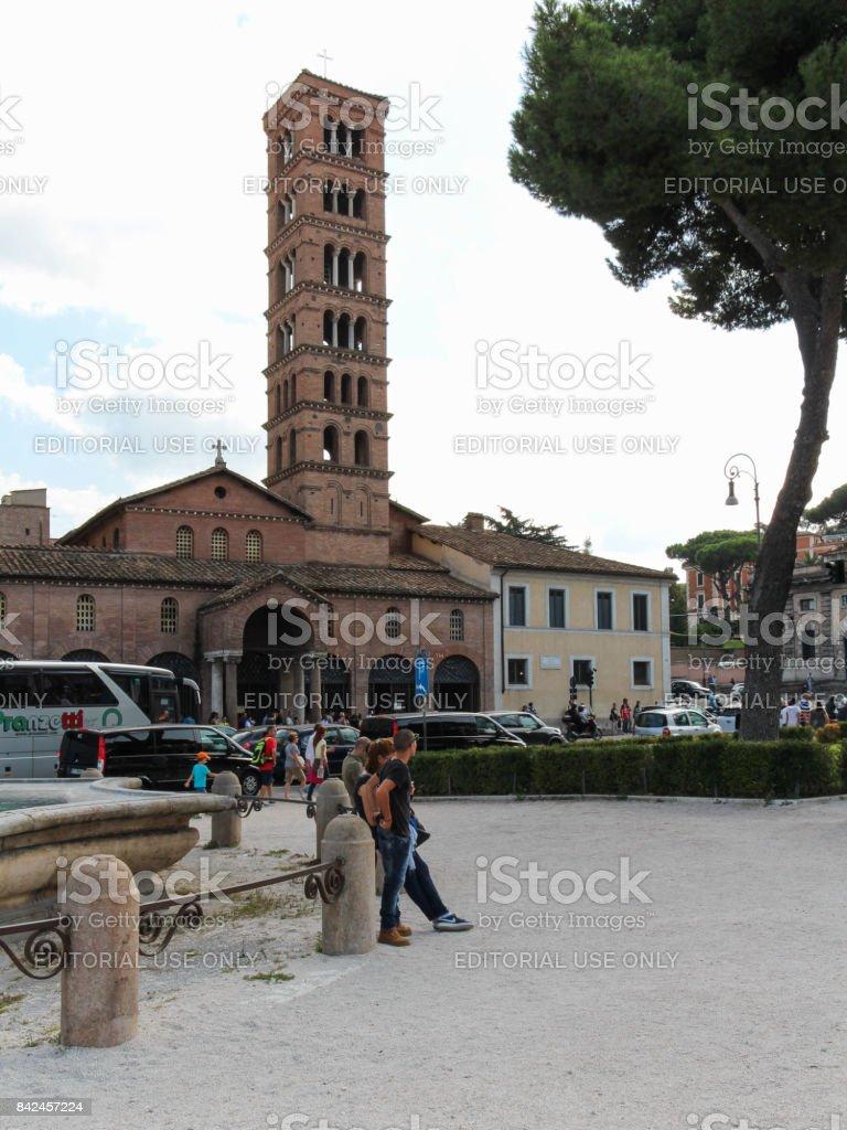 Basilica of Santa Maria in Cosmedin in Rome stock photo