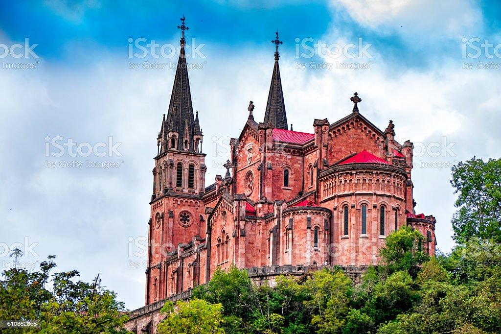 Basilica of Santa Maria la Real de Covadonga, Asturias, Spain stock photo