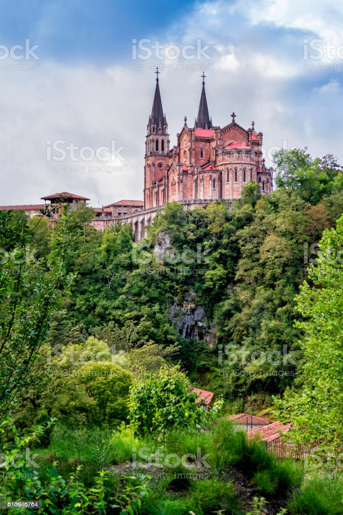 Basilica of Santa Maria la Real de Covadonga, Asturias, Spain stock photo