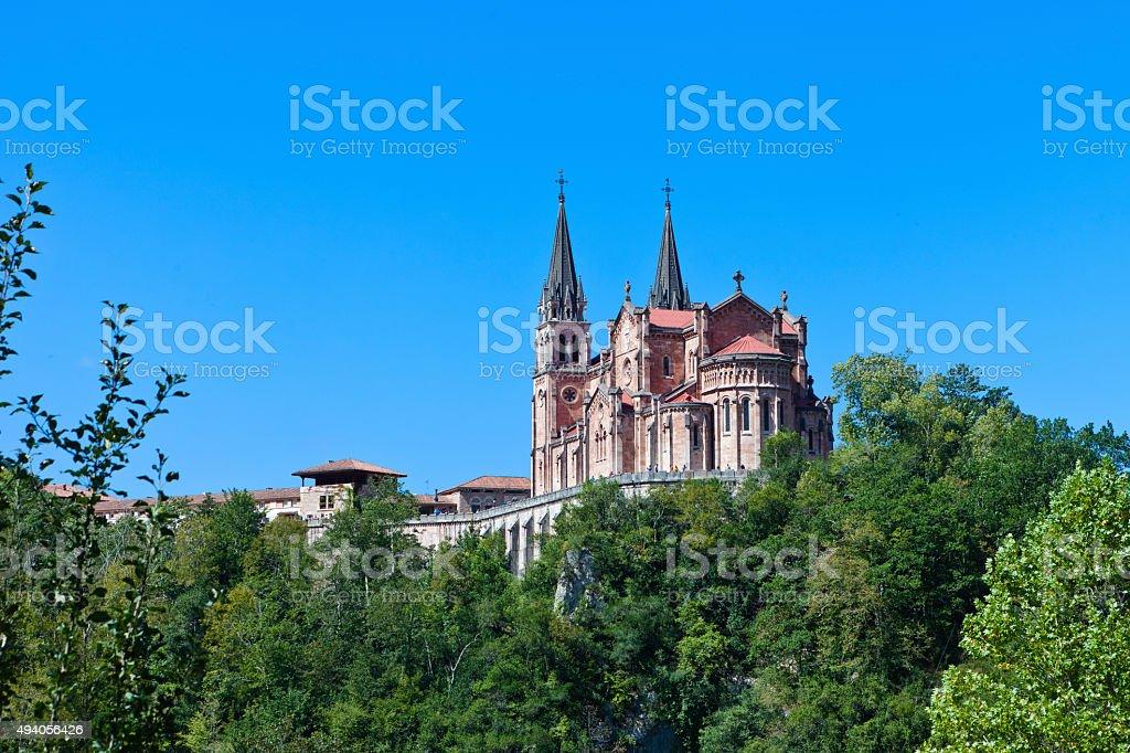 Basilica of Santa Maria la Real de Covadonga stock photo