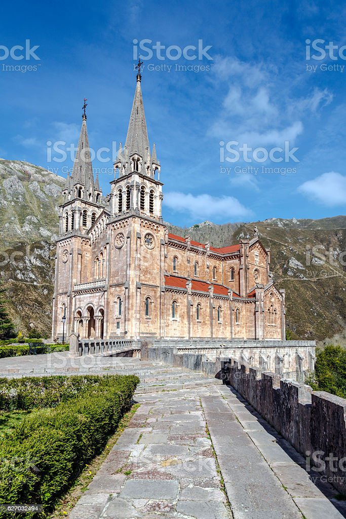 Basilica of Santa Maria la Real of Covadonga stock photo