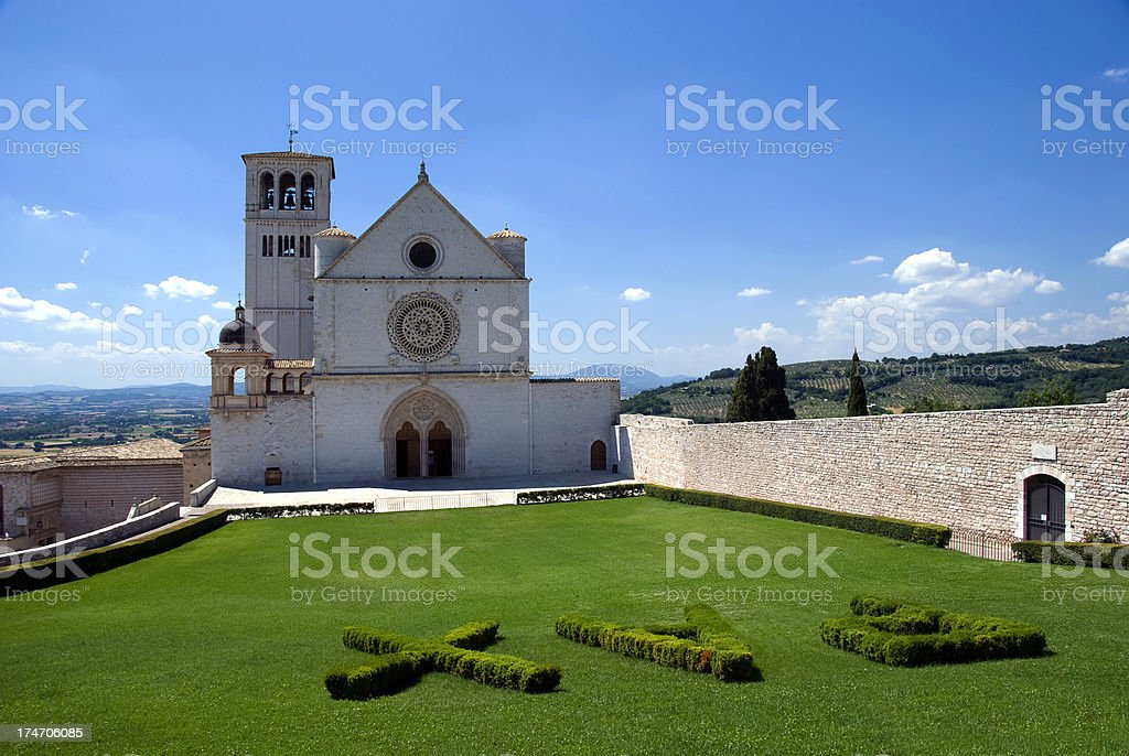 Basilica of St. Francis in Assisi stock photo