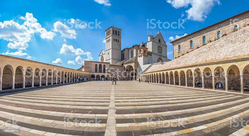 Basilica of St. Francis of Assisi, Assisi, Umbria, Italy stock photo
