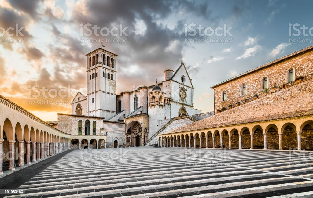 Basilica of St. Francis of Assisi at sunset, Assisi, Umbria, Italy stock photo