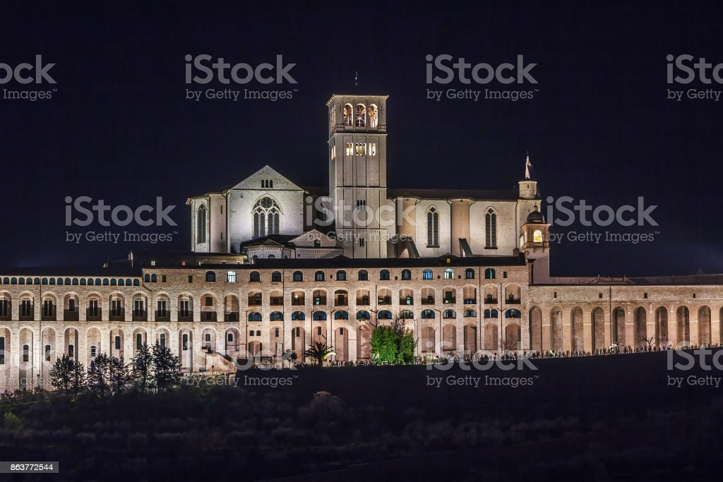 Basilica of St. Francis of Assisi, Italy stock photo