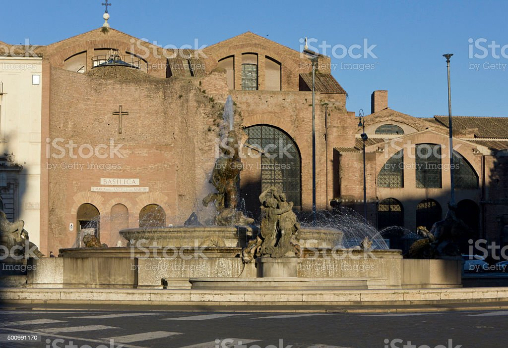 Basilica of St. Mary of the Angels and the Martyrs stock photo