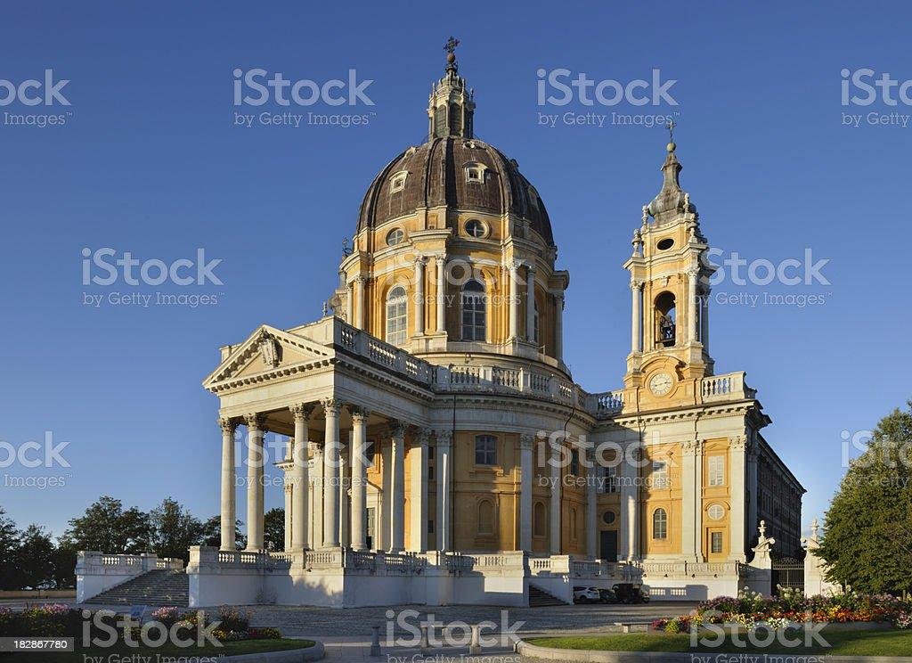 Basilica of Superga, Turin, italian baroque architecture, blue sky background stock photo