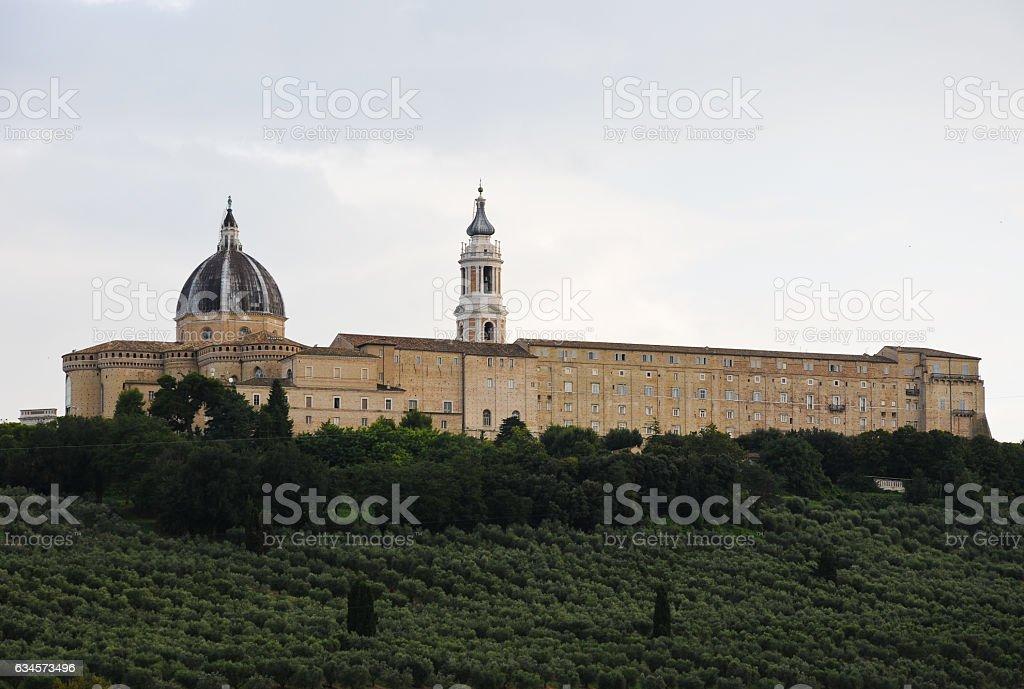 Basilica of the Holy House in Loreto, italy stock photo