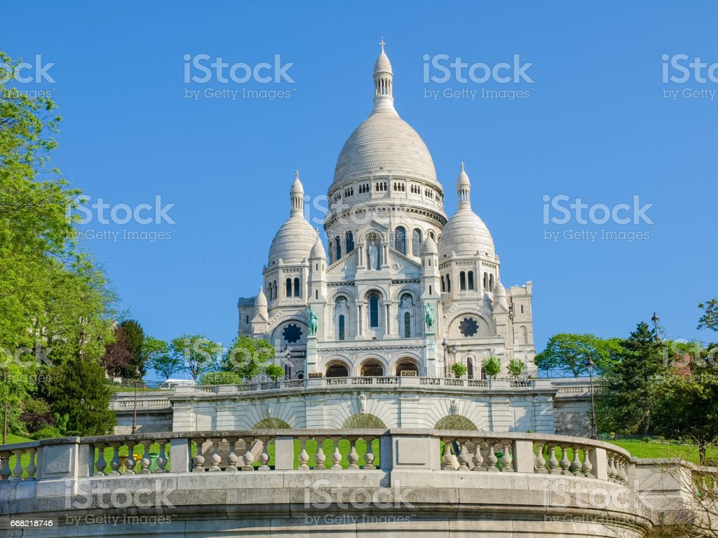 Basilica of the Sacred Heart in Paris stock photo