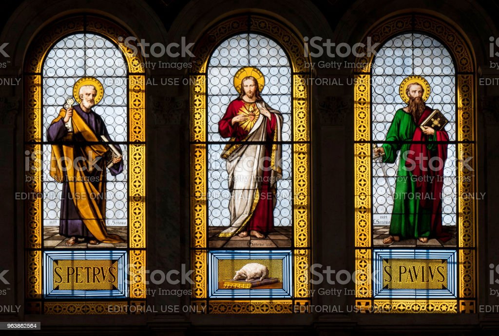 Basilica del Sacro Cuore - Stained Glass - Royalty-free Apostle - Worshipper Stock Photo