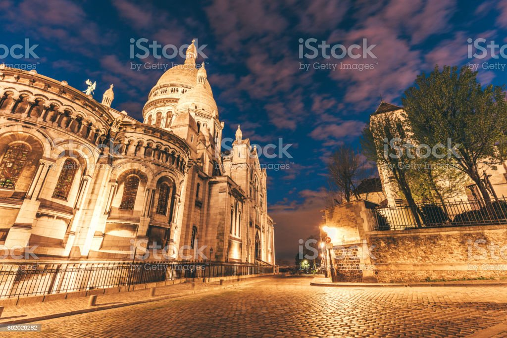 Basilica Sacre Coeur at Night, Montmartre, Paris, France stock photo