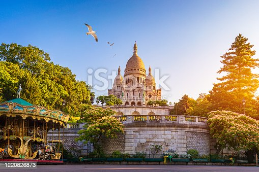 Basilica Sacre Coeur in Montmartre in Paris, France. The Basilica of the Sacred Heart (Sacre Coeur Basilica). Montmartre, Paris, France. Paris. Basilica Sacre-Coeur. On the hill Montmartre. Paris.