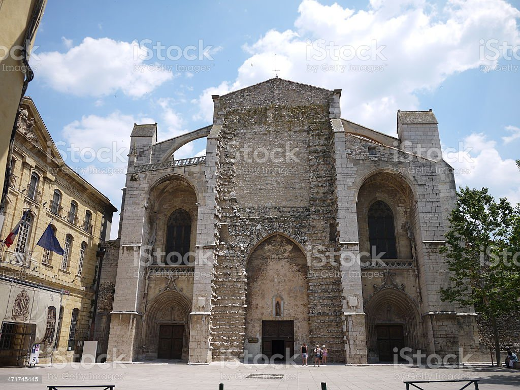 Basilica Sainte Marie Madeleine at Saint-Maximin-la-Sainte-Baume stock photo