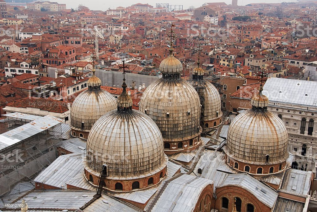 Basilica San Marco, Roof and Domes, Venice, Italy stock photo