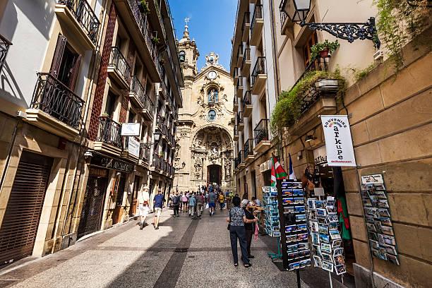 Basilica Santa Maria del Coro, San Sebastian, Spain stock photo
