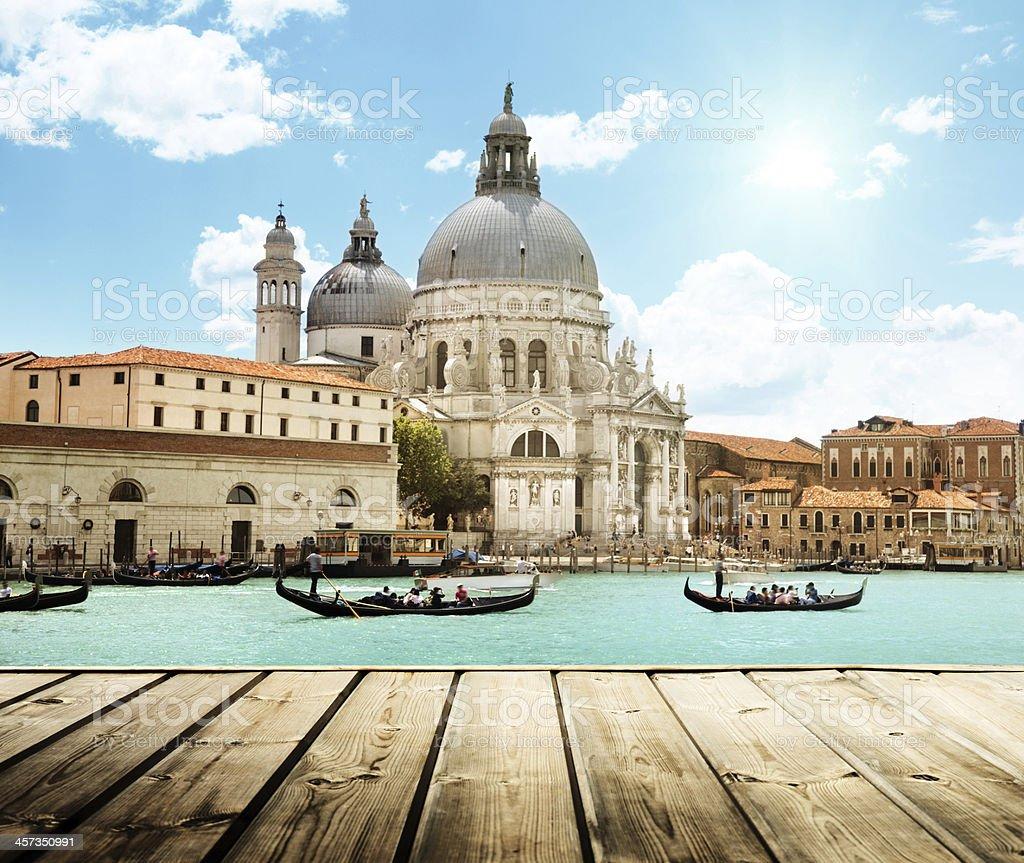 Basilica Santa Maria della Salute, Venice, Italy and wooden surf stock photo