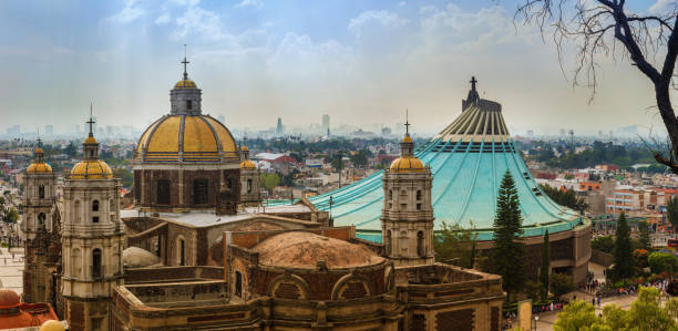 Basilica square of Our Lady of Guadalupe in Mexico city Mexico City: Panoramic view of Basilica square of Our Lady of Guadalupe in Mexico city basilica stock pictures, royalty-free photos & images