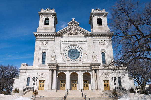Basilica Stairs Portico and Front Facade stock photo