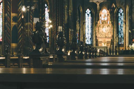 Basilika St. Marien interior blurred background