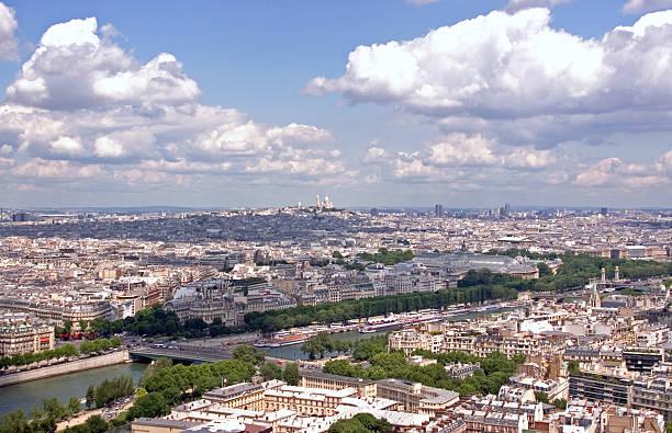 basilique du sacre coeur - distant view - montmatre utsikt bildbanksfoton och bilder
