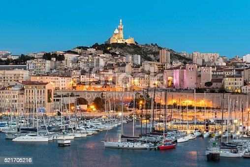 Basilique Notre-Dame de la Garde from the harbour in Marseille, France, Europe.