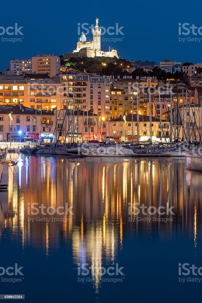 Basilique Notre-Dame de la Garde, Marseille Harbour, France stock photo