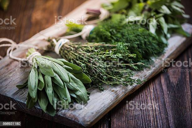 Photo of Basil,sage,dill,and thyme herbs