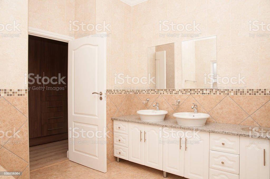 Basin Unit of New Bathroom stock photo