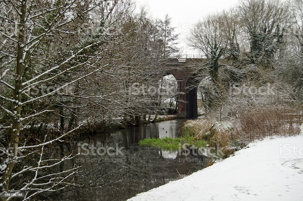 Basingstoke Canal with Snow stock photo