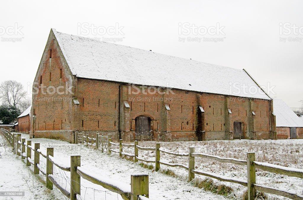 Basingstoke Great Barn in Snow stock photo