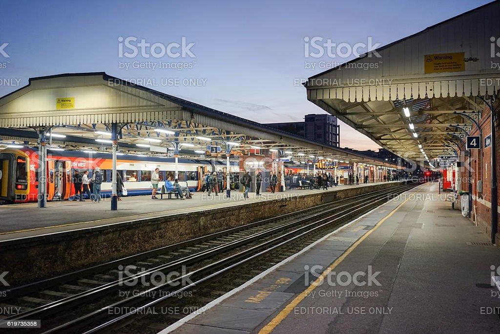 Basingstoke Railway Station at nightfall stock photo