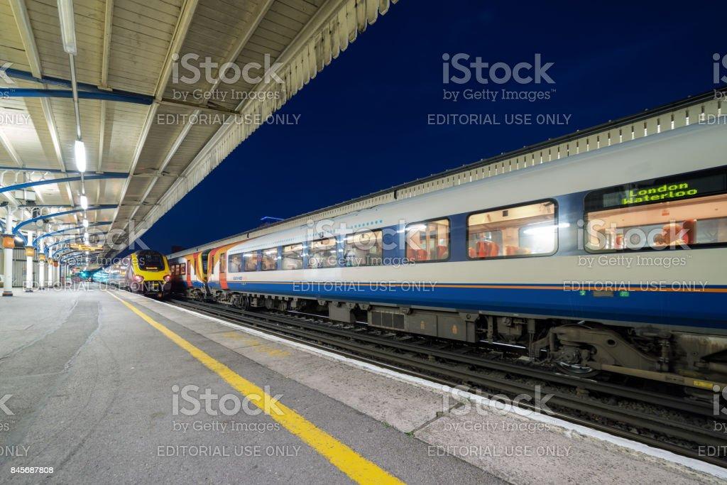 Basingstoke station at night stock photo