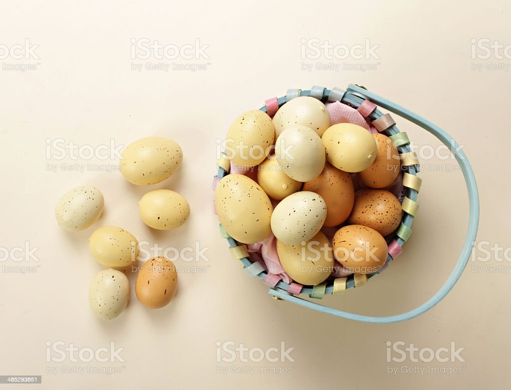 Basken with Easter Eggs stock photo