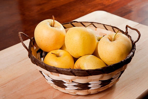 basker of apples stock photo