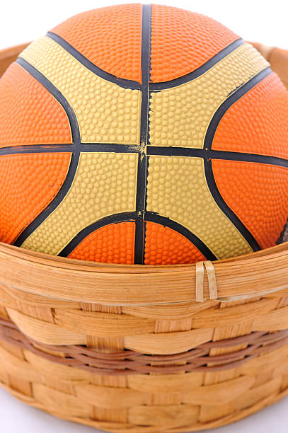 Basket and ball stock photo