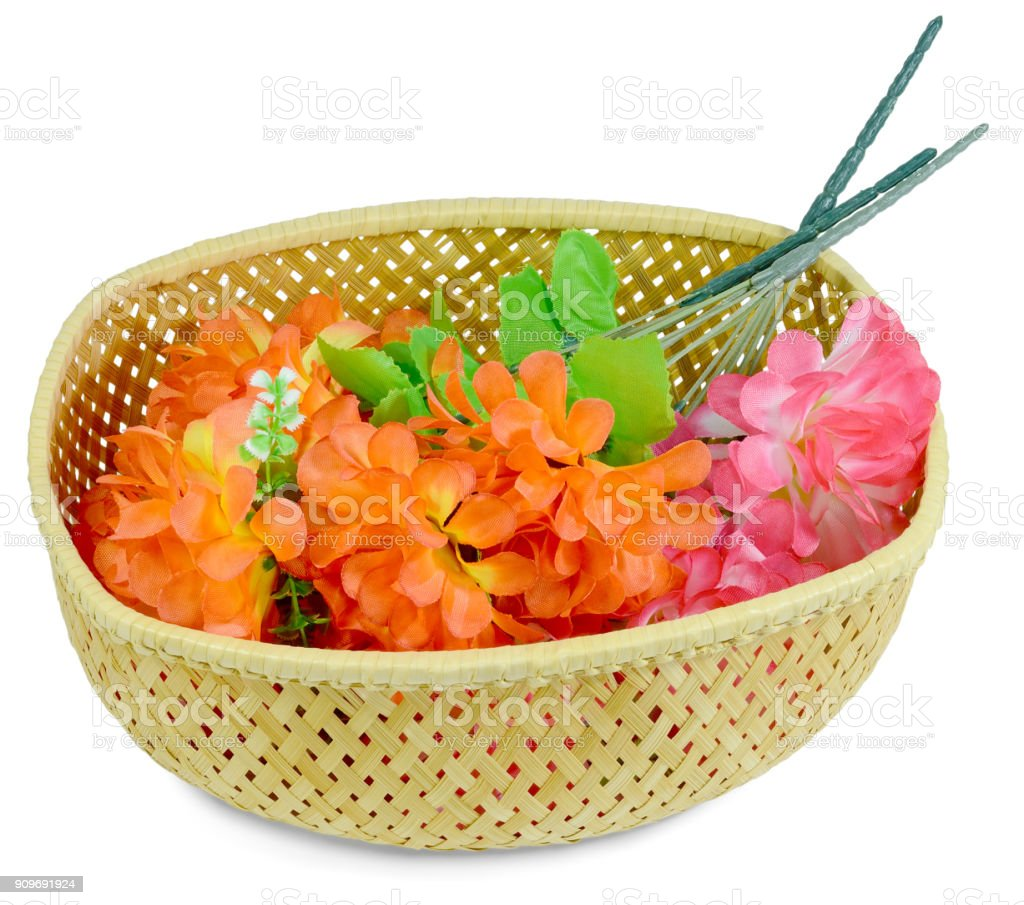 basket artificial bouquet isolated stock photo