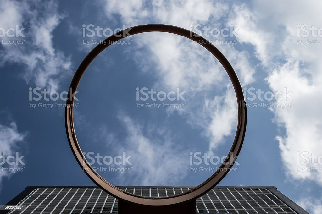Basket ball hoop (looking skyward) royalty-free stock photo